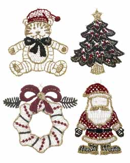 Set of 4 Colored Lace Ornaments