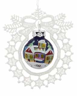 Wreath Lace Ornament Village