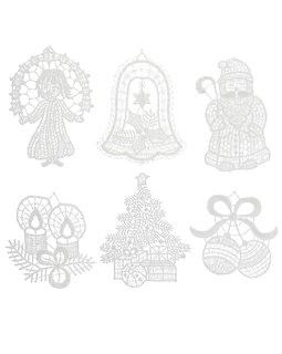 Set of 6 Lace Holiday Ornaments