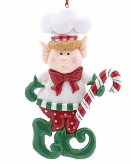 Chef Elf Holding A Candy Cane