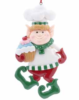 Chef Elf Holding A Cupcake