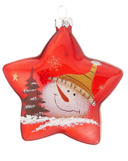 Red Glass Star Snowman - Yellow Hat