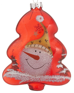 Red Glass Tree Snowman - Yellow Hat
