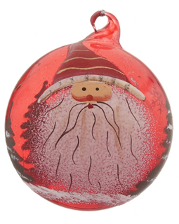 Red Glass Ball Santa - Striped Hat