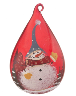 Red Glass Teardrop Snowman - Blue Hat