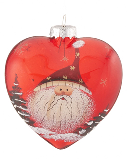Red Glass Heart Santa - Stars Hat