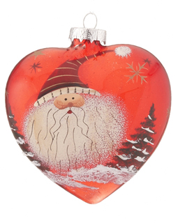 Red Glass Heart Santa - Striped Hat