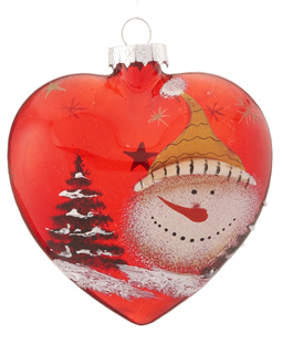Red Glass Heart Snowman - Yellow Hat