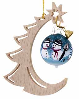 Modern Half Christmas Tree with Snowman Couple