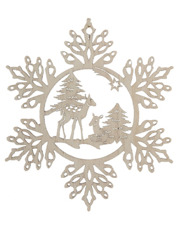 Snowflake with Deer in Forest