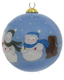 Snow Family of 4 Plus Dog Glass Ball