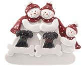 Snowman Family of 3 with 2 Black Dogs
