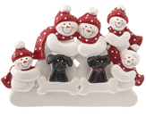 Snowman Family of 5 with 2 Black Dogs