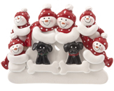 Snowman Family of 6 with 2 Black Dogs