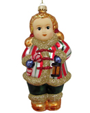 Figural Girl Holding Candy Cane