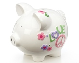 Large Peace & Love Piggy Bank