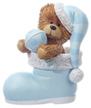 Blue Stocking Bear Figurine