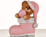 Pink Stocking Bear Figurine