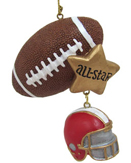 Football Ornaments & Football Player Christmas Ornaments