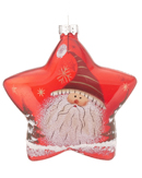 Red Glass Star Santa - Striped Hat