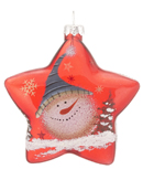 Red Glass Star Snowman - Blue Hat