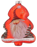 Red Glass Tree Santa - Striped Hat