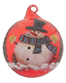Red Glass Ball Snowman - Top Hat