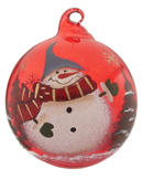 Red Glass Ball Snowman - Blue Hat