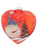 Red Glass Heart Snowman - Blue Hat