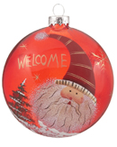 Red Glass Disk Santa - Striped Hat